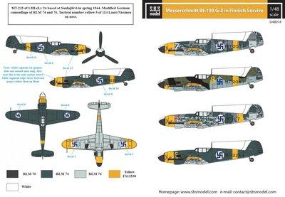 S.B.S D48014 Messerschmitt Bf-109G-2 in Finnish Service Decal set 1/48